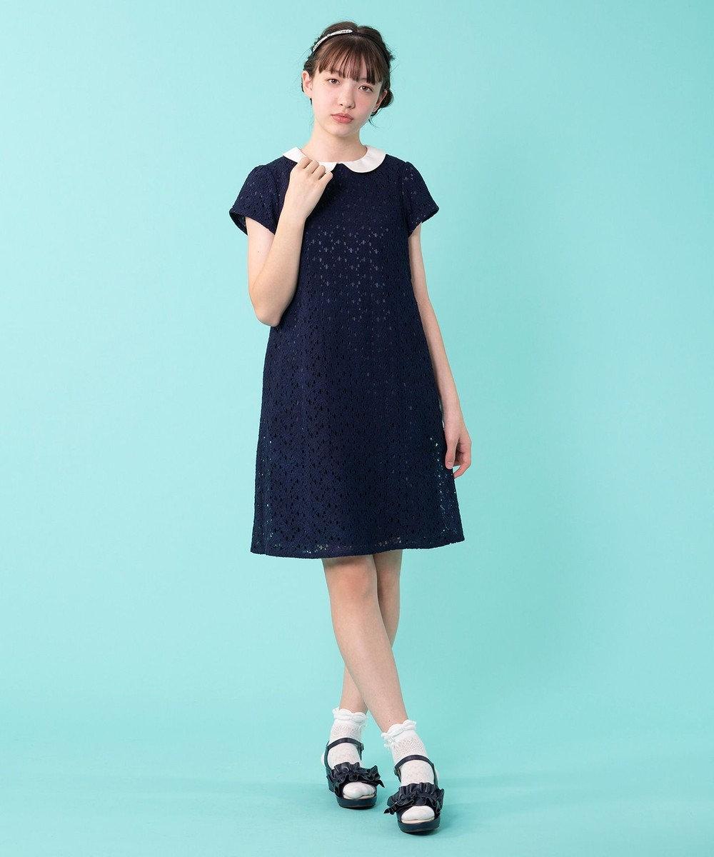 組曲 KIDS 【150~170cm】フラワーレースドレス ワンピース ネイビー系