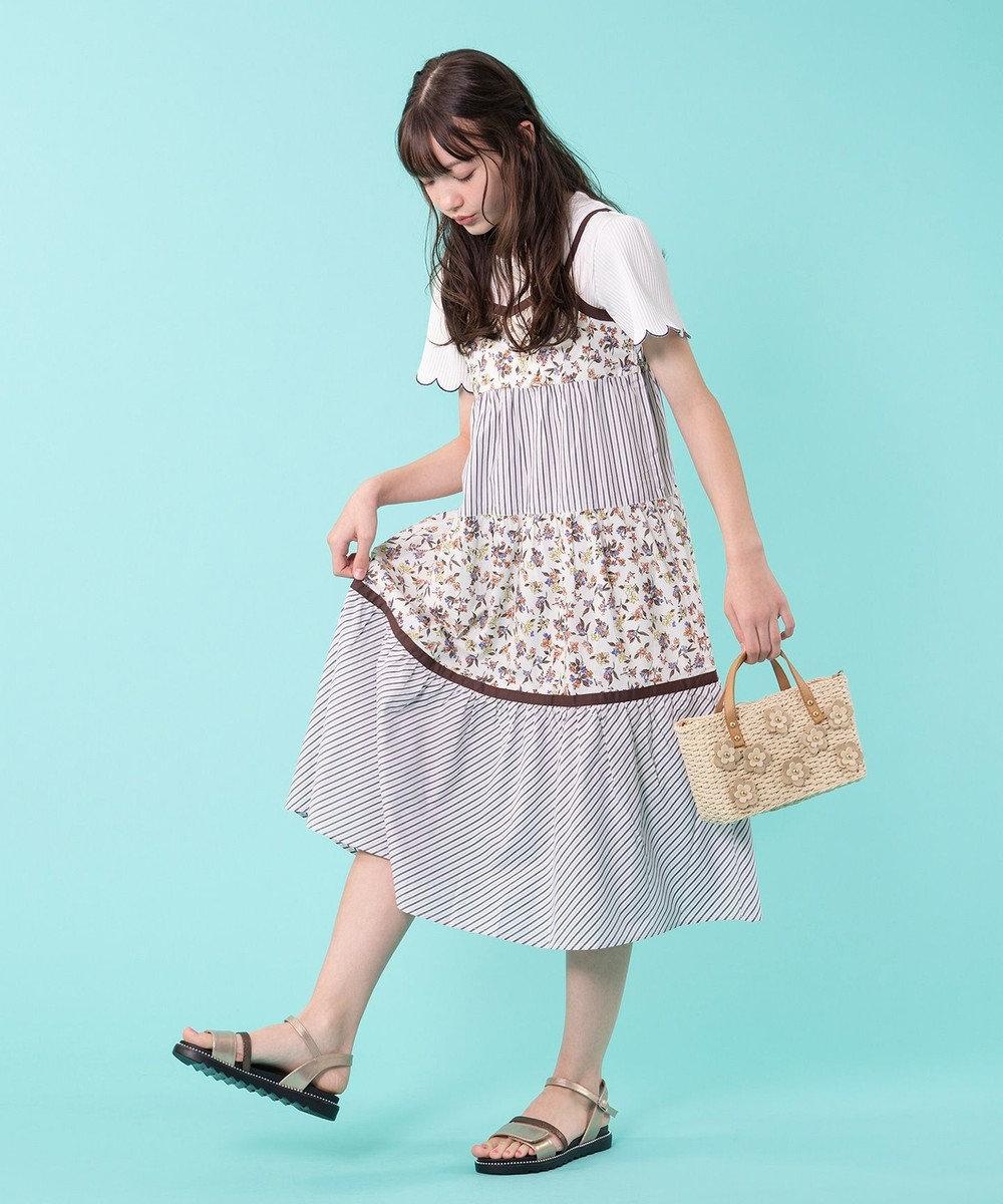 組曲 KIDS 【150~160cm】ナチュラルフラワーワンピース ベージュ系5
