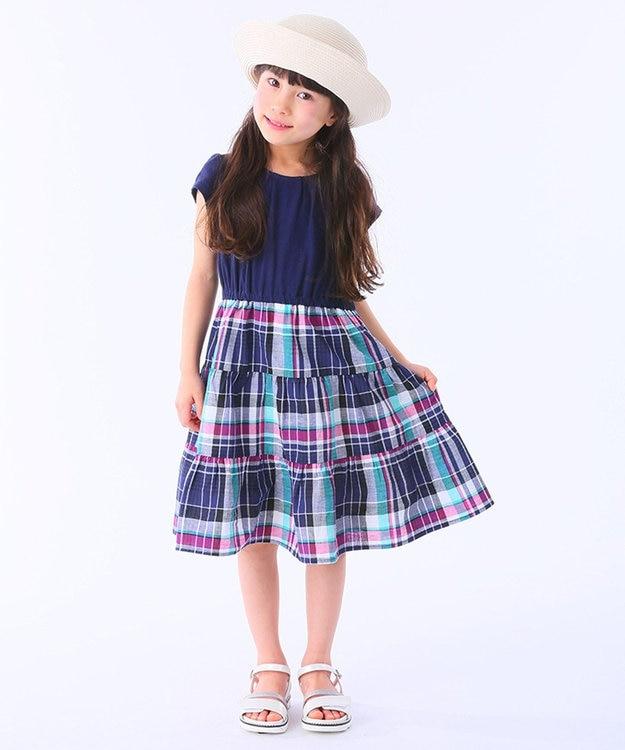 組曲 KIDS 【110~140cm】コットンリネンマドラスチェック ワンピース