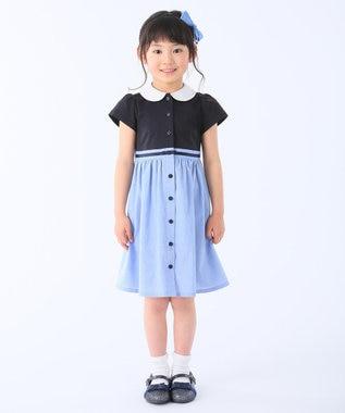 組曲 KIDS 【SCHOOL】60/2天竺×シャンブレー ワンピース サックスブルー系