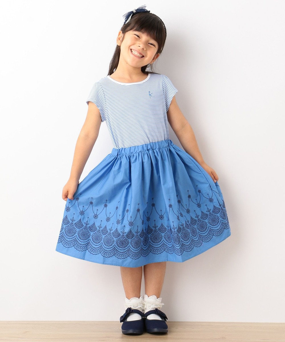 組曲 KIDS 【SCHOOL】カラーボーダー×ブロードスカラップ刺繍 ワンピース ブルー系1