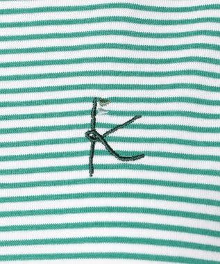 組曲 KIDS 【SCHOOL】カラーボーダー×ブロードスカラップ刺繍 ワンピース ライトグリーン系1