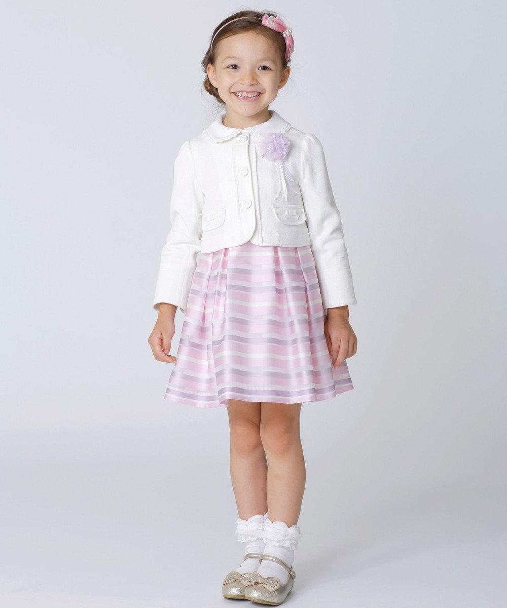 組曲 KIDS 【TODDLER】オーガンジーボーダー ワンピース ピンク系1