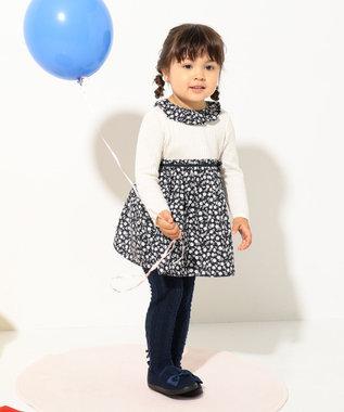 組曲 KIDS 【80~100cm】フラワーコンビ ワンピース ネイビー系5