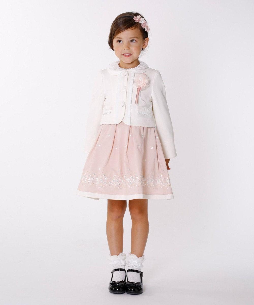 組曲 KIDS 【100~140cm】グログラン刺繍 ワンピース ピンク系