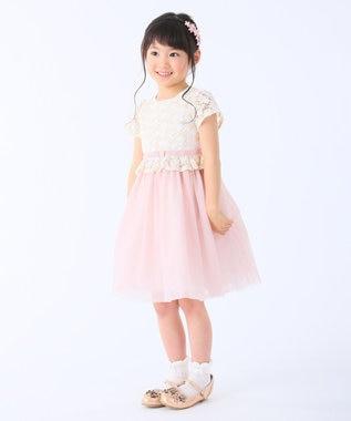 組曲 KIDS 【110~140cm】レース×ソフトチュール ワンピース ピンク系