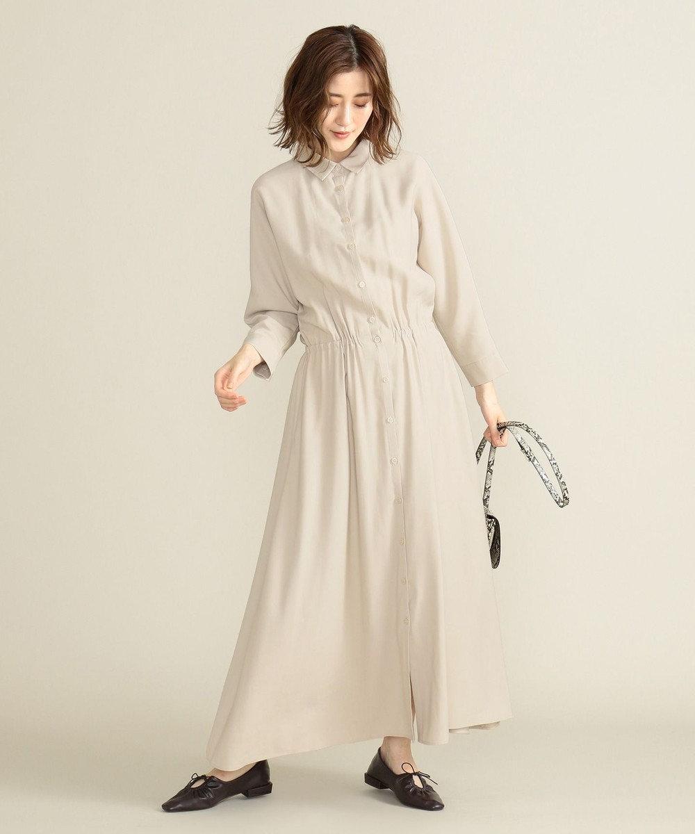 SHARE PARK LADIES 【洗える】ウエストマークシャツワンピース アイボリー系