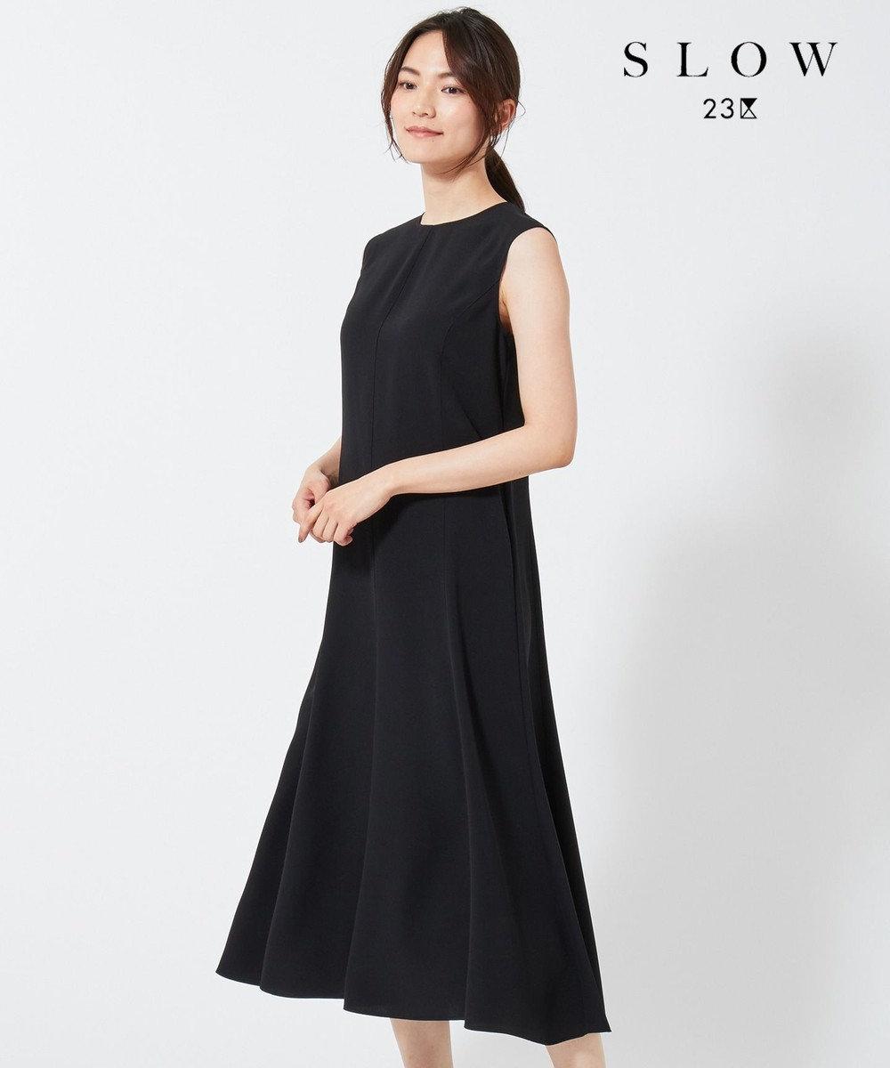 23区 【SLOW】バックサテンジョーゼット ワンピース ブラック系