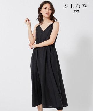 23区 【SLOW】シルクコットン キャミソールワンピース ブラック系