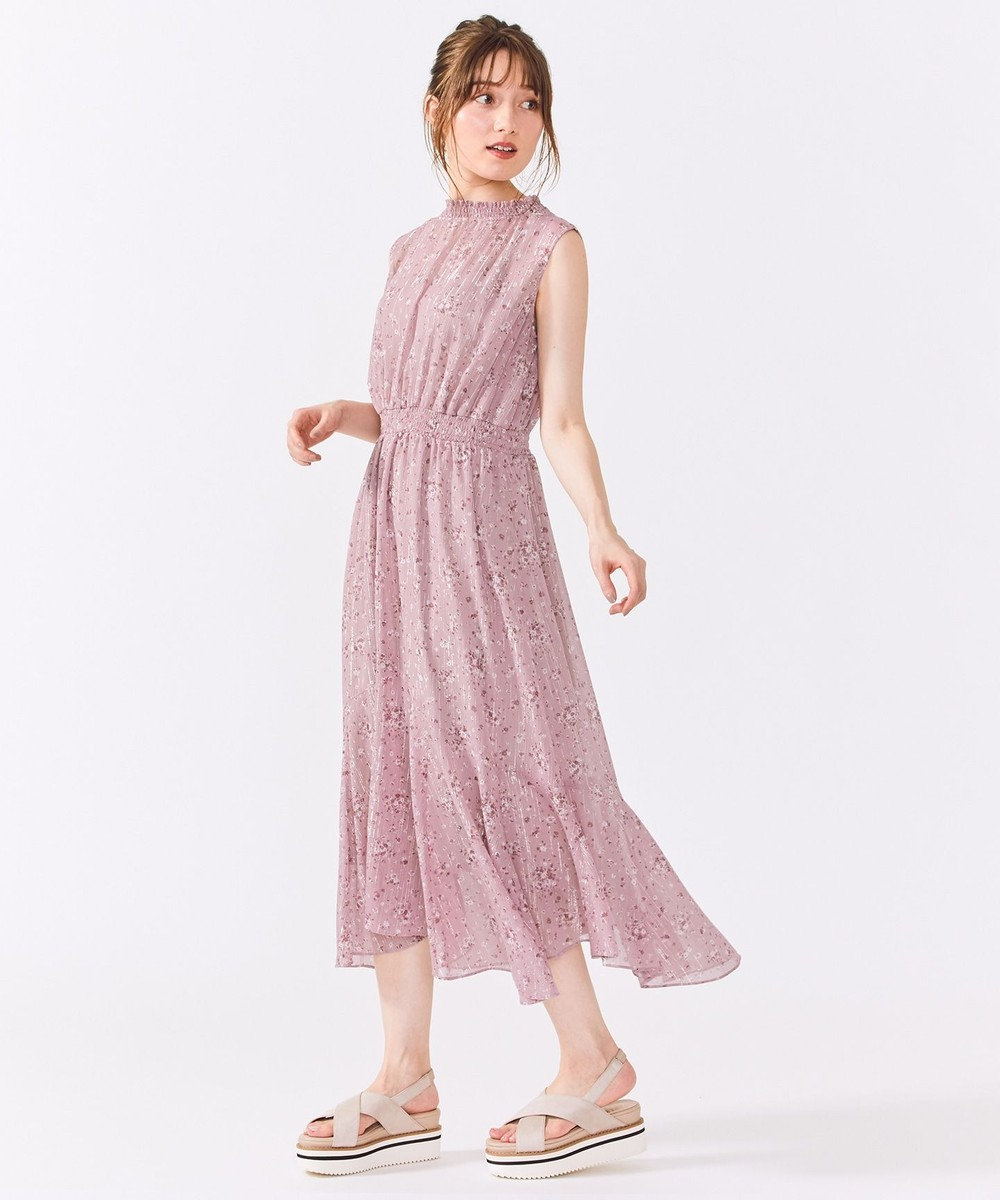 Feroux 【洗える】Twinkleブーケプリント ワンピース ピンク系3