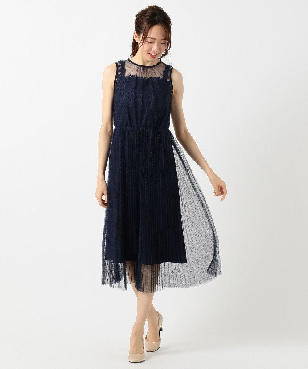 Feroux エアリーフラワープリーツ ドレス ネイビー系
