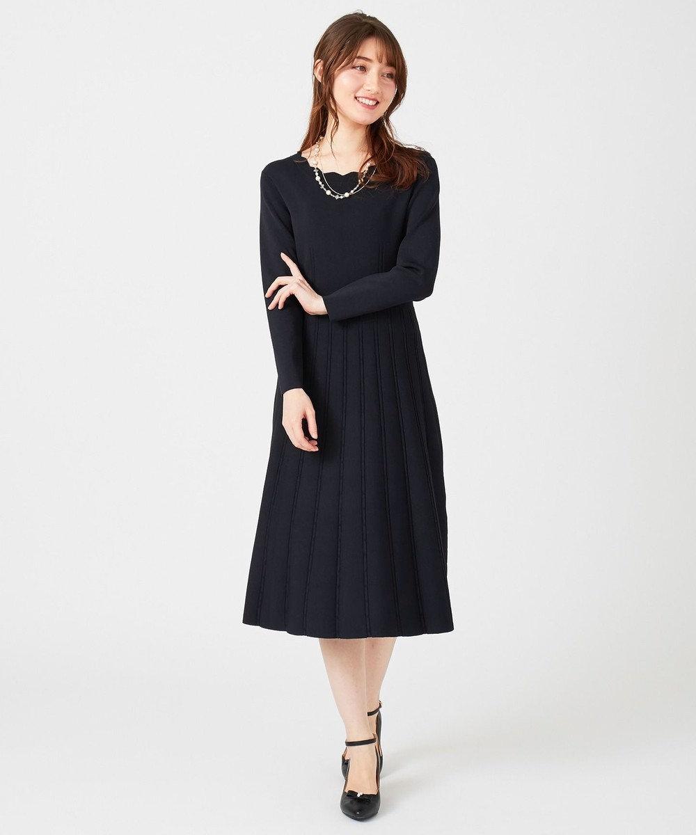 Feroux 【mamagirl掲載】セレモニーニット ワンピース ネイビー系
