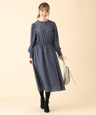 Feroux 【洗える】スモールフラワープリント ワンピース ブルー系3