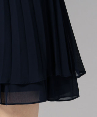 Feroux 【前後着用可】バックレースプリーツ ドレス ネイビー系