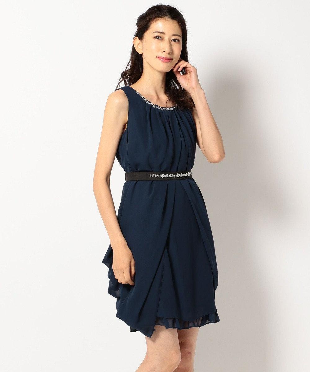 Feroux 【洗える】4wayドレープ ドレス ネイビー系