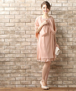 Feroux 【洗える】4wayドレープ ドレス ピンク系