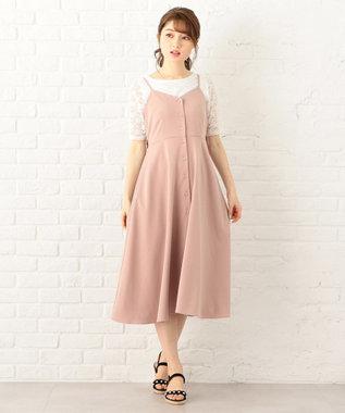 Feroux 【大人気のため追加生産】リボンポイントキャミセット2 ワンピ ピンク系