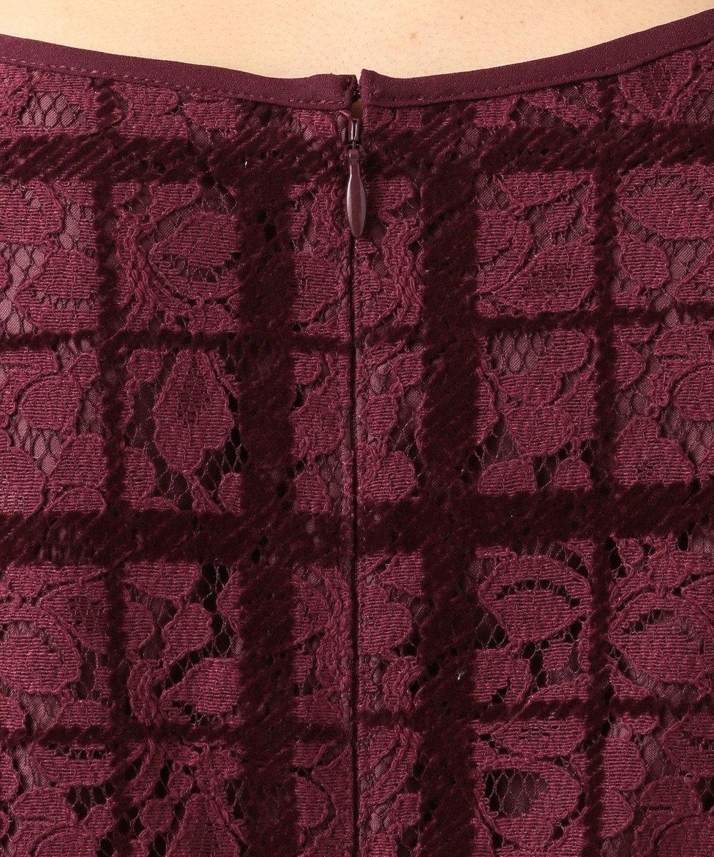 Feroux フロッキーチェックレース ドレス ワイン系