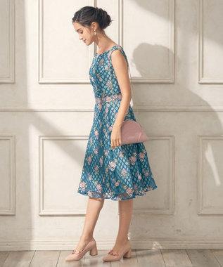 TOCCA 【GOLD LABEL】FLOWER PADDLE ドレス ターコイズブルー系7