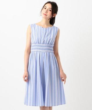 TOCCA 【洗える!】STRIPE ドレス スカイブルー系
