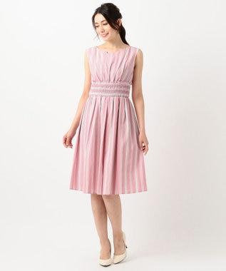 TOCCA 【洗える!】STRIPE ドレス ピンク系