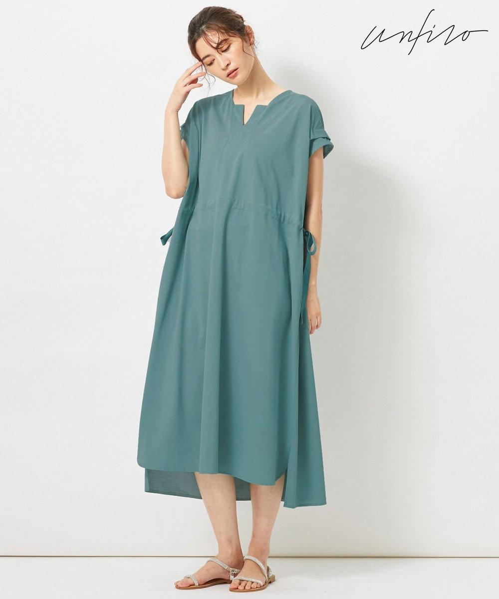 自由区 L 【Unfilo】KANOKO BLEND ドロストデザイン ワンピース ブルー系