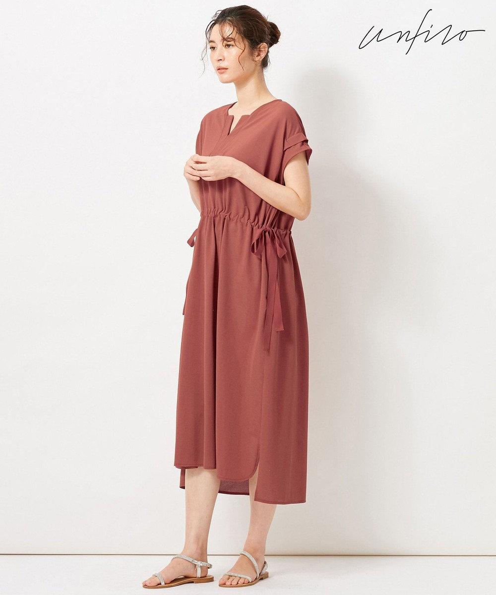 自由区 【Unfilo】KANOKO BLEND ドロストデザイン ワンピース オールドローズ系