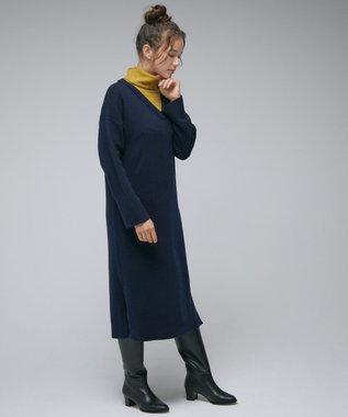 自由区 【Unfilo】カシミヤ混バイカラー ニットワンピース ネイビー系