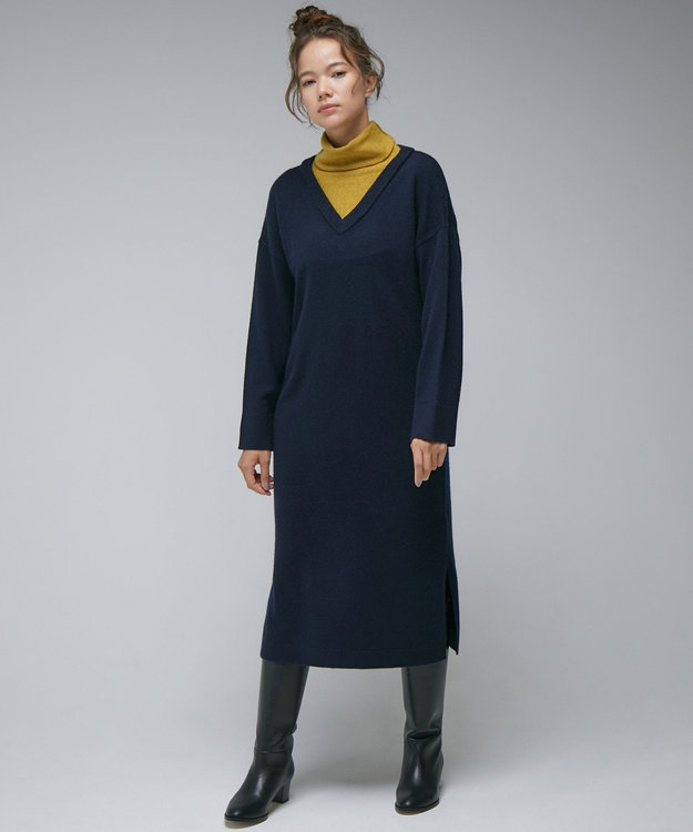 自由区 【Unfilo】カシミヤ混バイカラー ニットワンピース
