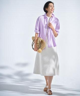 自由区 【Sサイズ有】リネン リバーシブル ワンピース ライトイエロー系