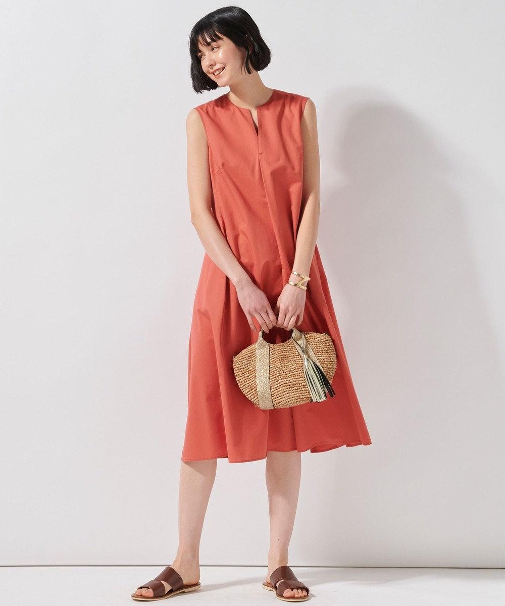 23区 L 【洗える】コットンシルクタイプライターワンピース オレンジ系