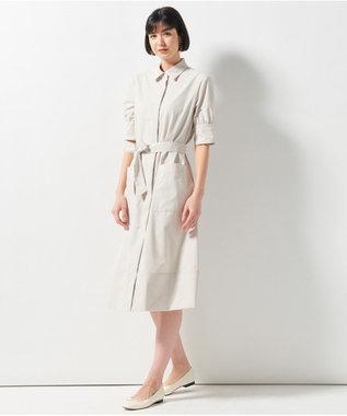 23区 【洗える】プレーンコットンライプライターワンピース アイボリー系