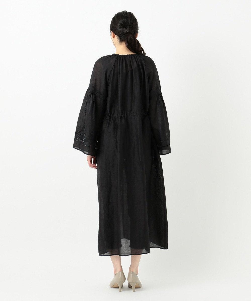 23区 【洗える】エンブロイダリーラミーワンピース ブラック系