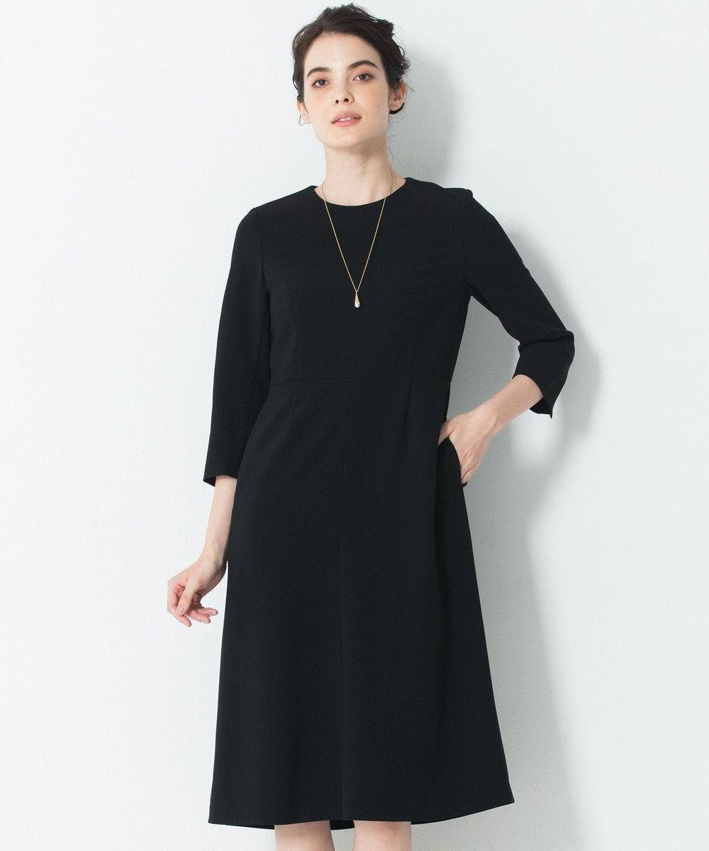 23区 【セットアップ対応】トリアセダブルジョーゼット ワンピース ブラック系