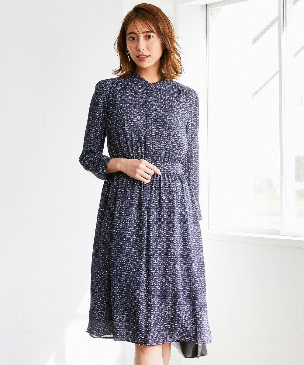 23区 S 【洗える】ツイーディープリント ドレス ネイビー系1