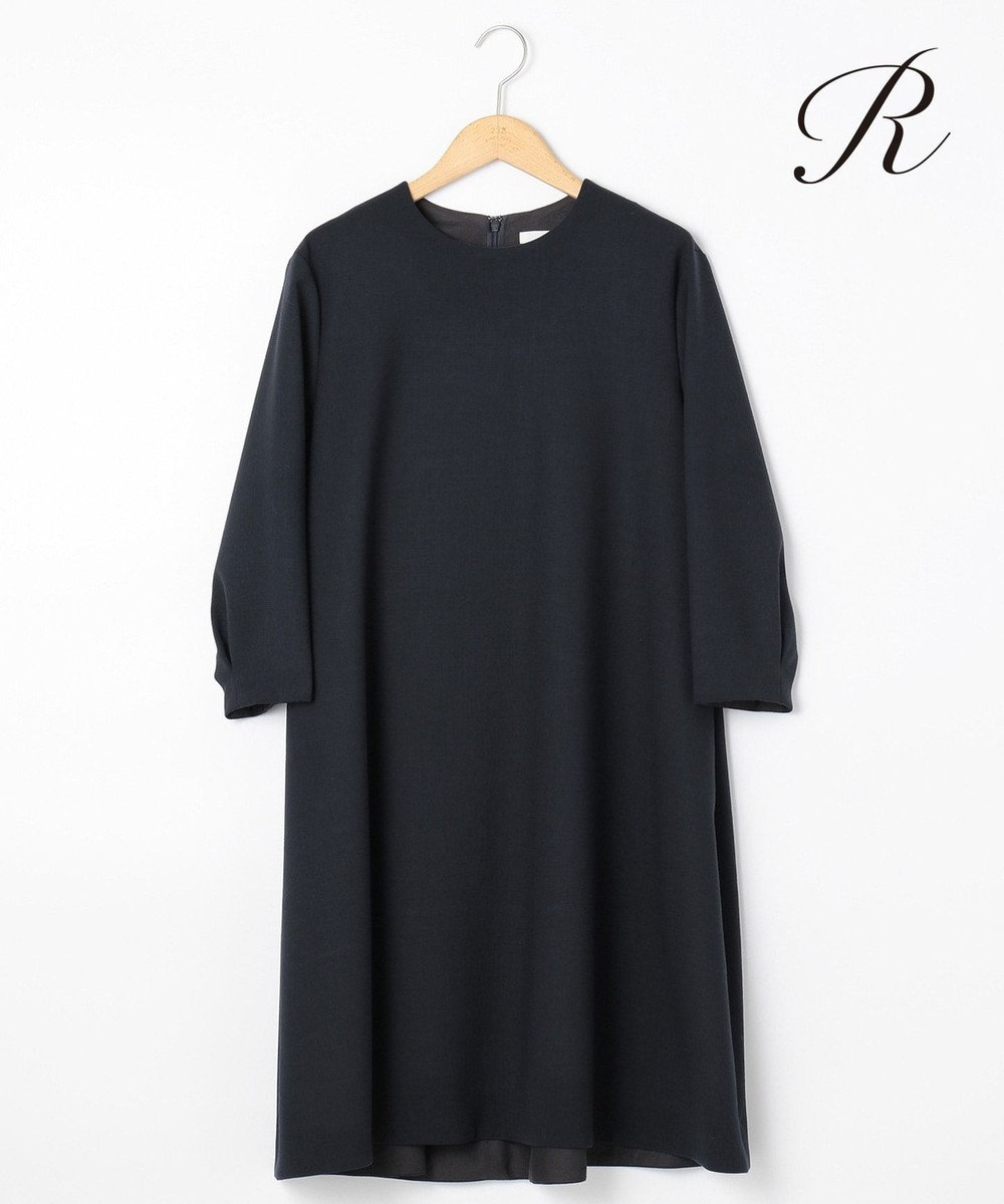 23区 L 【R(アール)】FINE WOOL DOUBLECLOTH ワンピース ネイビー系