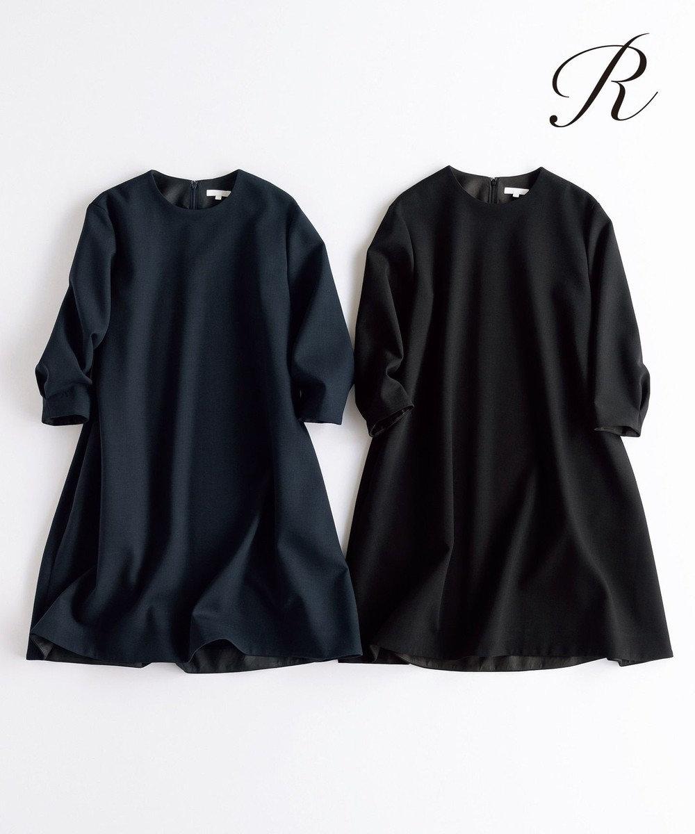 23区 L 【R(アール)】FINE WOOL DOUBLECLOTH ワンピース ブラック系