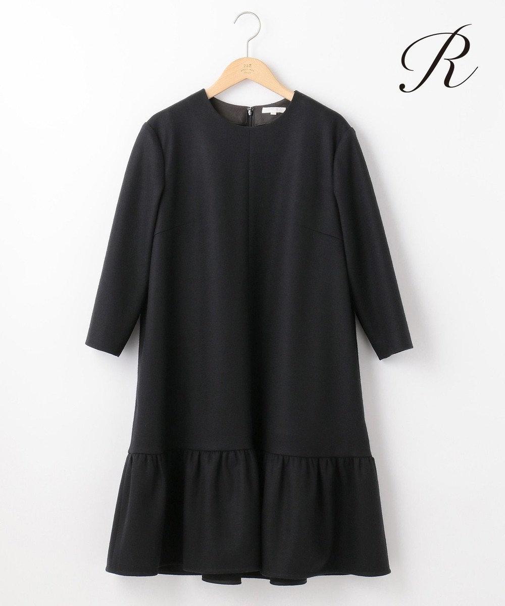 23区 L 【R(アール)】FINE WOOL JERSEY 裾ペプラム ワンピース ブラック系