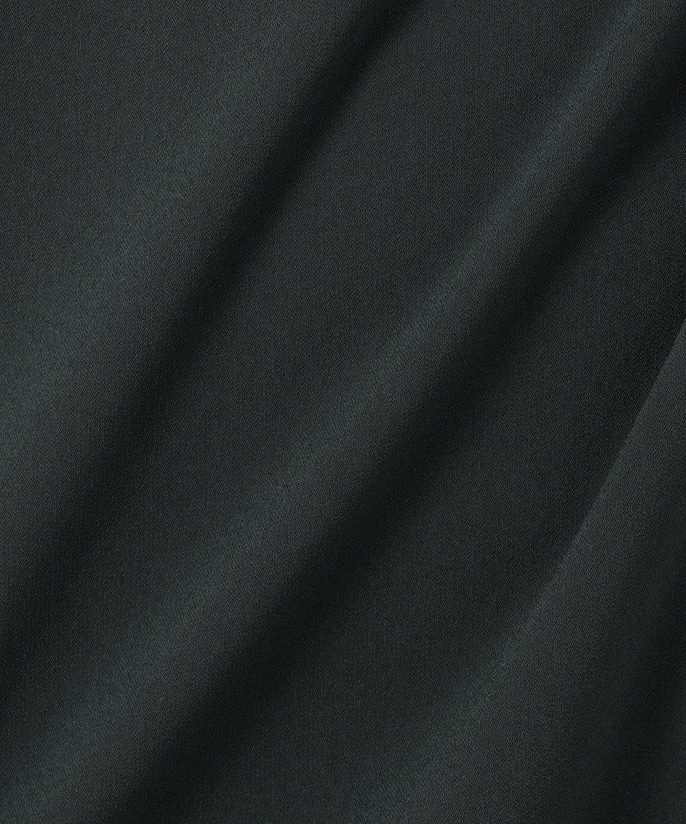 23区 L 【洗える】パウダリージョーゼット ボリュームスリーブ ワンピース ダークグリーン系