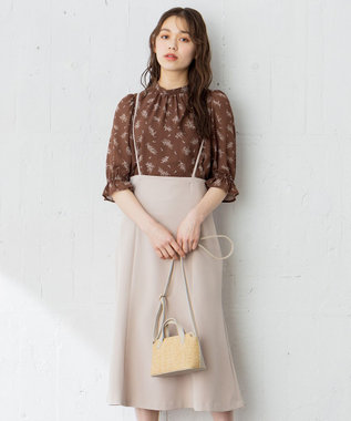 any SiS 【2SET】サスペンダー付きマーメイドスカートセット ワンピース ベージュ系