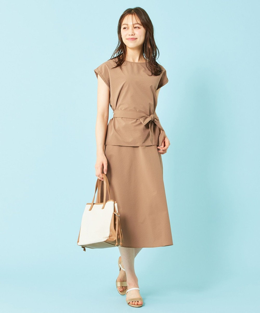 any SiS L 【美人百花9月号掲載】2SET ミニストライプセットアップ ワンピース キャメル