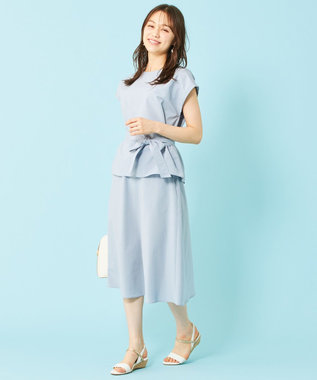 any SiS L 【美人百花9月号掲載】2SET ミニストライプセットアップ ワンピース スモーキーブルー