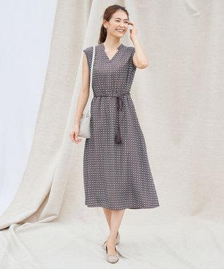 any SiS S 【洗える】幾何小紋プリント ワンピース ブラウンベース