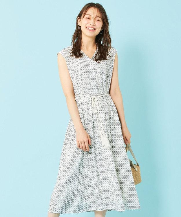 any SiS S 【洗える】幾何小紋プリント ワンピース