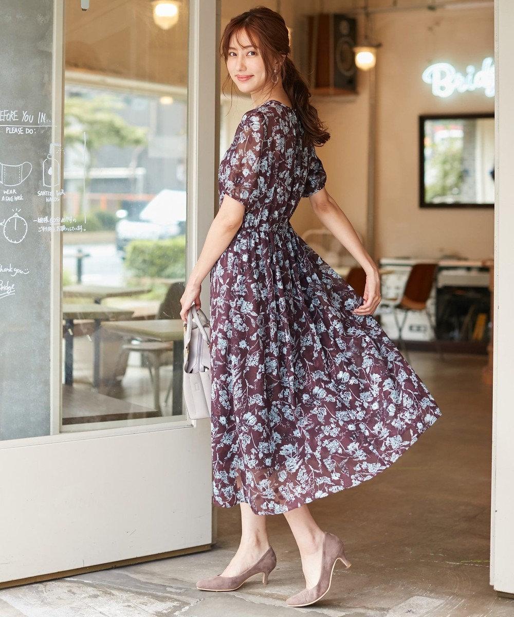 any SiS L 【洗える】シアーフローラル ワンピース ブラウン