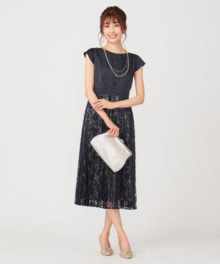 any SiS 【洗える】フルールレースプリーツ ドレス ネイビー