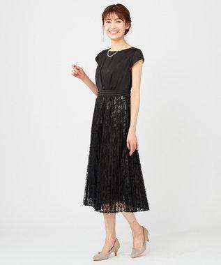 any SiS 【洗える】フルールレースプリーツ ドレス ブラック