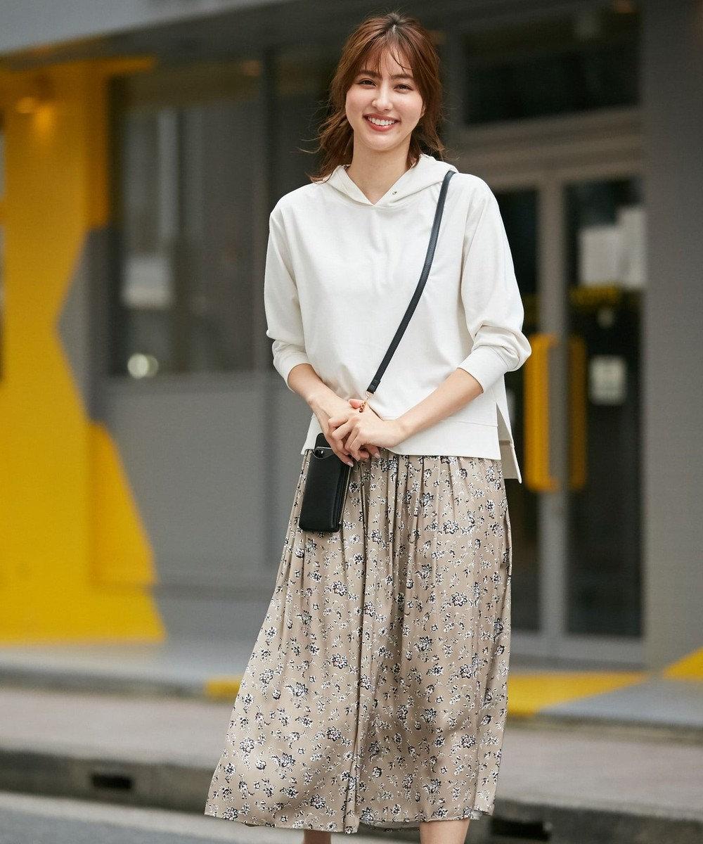 any SiS L 【おうち時間に】パーカー×フラワープリントスカート ツインセット(2SET) アイボリー×ベージュ