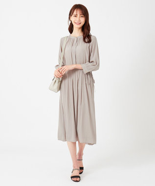any SiS 【おうち時間にも】ウエストタイギャザー ワンピース グレージュ