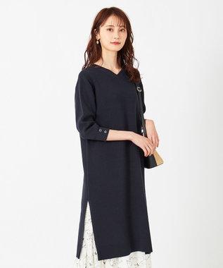 any SiS L 【2WAY】片畦 ニットワンピース ネイビー